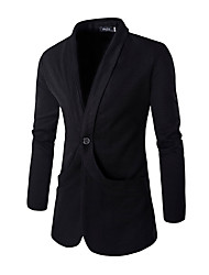 Men's Solid Work / Formal Blazer,Cotton Long Sleeve Black / Gray