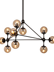Modern Dimmable Modo Chandelier 10 Lights Semi-Flush Mounted Black Paiting Amber Glass for Living Room Loft Light