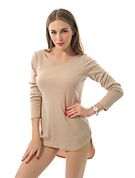 Women's Casual/Daily Simple Loose Irregular Large Size Dress,Solid Round Neck Mini Long Sleeve