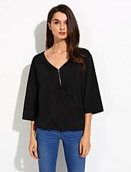 Damen Solide Sexy Lässig/Alltäglich T-shirt,V-Ausschnitt Sommer ¾-Arm Blau / Rot / Schwarz / Grün / Lila Baumwolle Dünn
