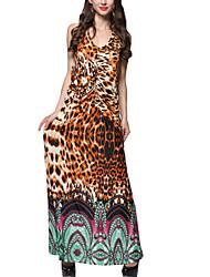 Mulheres Swing Vestido,Happy-Hour / Tamanhos Grandes Boho Leopardo Nadador Longo Sem Manga Marrom Poliéster Verão