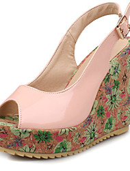 Women's Shoes Wedge Heel Peep Toe Platform Flower Print Sandal More Color Available