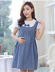 Robe Maternité Sortie Chic de Rue,Mosaïque Col Arrondi Mi-long Manches Courtes Bleu / Rose Polyester