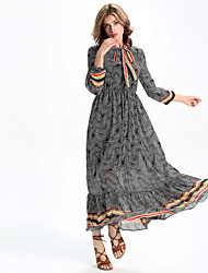 Women's Going out Boho A Line / Chiffon Dress,Paisley Stand Maxi Long Sleeve Gray Polyester All Seasons