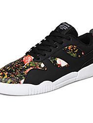 sapatos masculinos pu sapatilhas da forma ocasional andando outros salto planas cinza / preto e vermelho