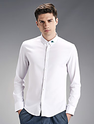NEW MENS WHITE Casual Shirt Mens spring tide embroidered Japanese Korean slim elastic long sleeved shirt male