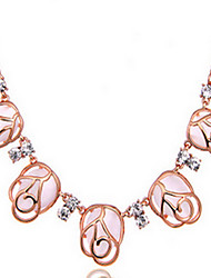 Exquisite Crystal Pink Statement Pendant Necklace Jewelry for Lady