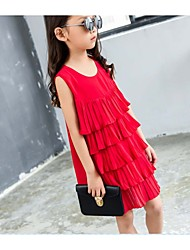 Girl's Holiday Solid Dress / Clothing Set,Others Summer Red / White