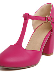 Women's Shoes Chunky Heel Round Toe T-strap Pump More Color Available