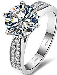 3CT Star Solitaire with Accents Engagement Ring for Women Sterling Silver SONA Diamond Classic Style Micro Paved Quality