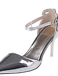 Damen-High Heels-Lässig-Lackleder-Stöckelabsatz-Absätze-Rot / Silber / Gold