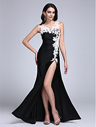 TS Couture Formal Evening Dress - Furcal Sheath / Column Jewel Floor-length Jersey with Appliques Split Front