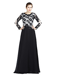 A-Fu Sheath / Column Mother of the Bride Dress - Color Block Floor-length Long Sleeve Chiffon Lace with Crystal Detailing