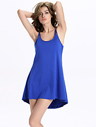 Women's Casual/Daily Simple A Line / Sweater Dress,Solid Strap Above Knee Sleeveless Blue / Yellow  / Polyester Summer