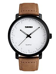 Skmei® Men's Fashion Round Dial Leather Strap Quartz Wrist Watch 30m Waterproof Casual Watch