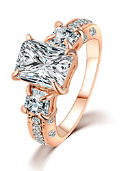Classical Square Champagne Rhinestones Zircon Luxury Crystal Rings