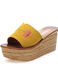 chaussures pour femmes en daim plates pantoufles sandales à talons en plein air / robe / casual noir / jaune / vert