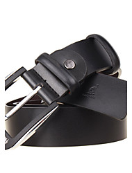 Men's Strap Casual Cowhide Pin Simple Fashion Business Leather Belt Black