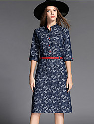 Women's Simple / Street chic Print Plus Size / Sheath Dress,Stand Midi Cotton / Polyester