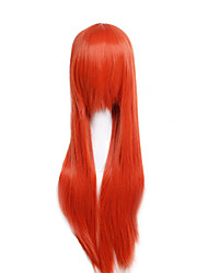 Cheap Price high temperature Orange Color Synthetic cosplay wig 80cm Young Long straight wigs