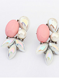 Fashion Wild Beautiful Leaves Pearl Ear