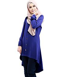 Damen Solide Einfach Ausgehen T-shirt,Rundhalsausschnitt Sommer Langarm Blau / Rot / Schwarz Polyester Mittel