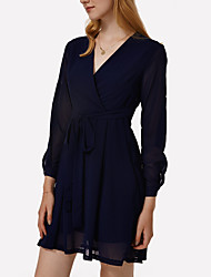 Women's Casual/Daily Sexy A Line Dress,Solid Deep V Above Knee Long Sleeve Blue Cotton Fall