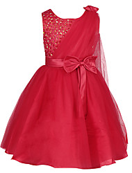 New Fashion Bright Red/White Evening Party Dress Flower Petals Party Wedding Prom Fancy Dress for 1~6Years Kid Girls