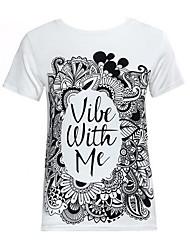 Damen Druck Retro / Street Schick Lässig/Alltäglich T-shirt,Rundhalsausschnitt Sommer Kurzarm Weiß Polyester Mittel