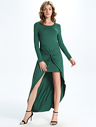 Women's Casual/Daily Simple A Line / Sweater Dress,Solid Round Neck Maxi Long Sleeve Green Cotton /  All Seasons