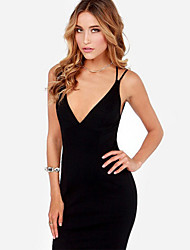 Women's Sexy Solid Bodycon / Loose Dress , Deep V Above Knee Cotton / Polyester