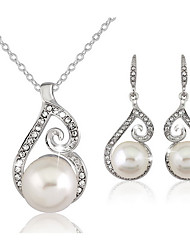 Women's Jewelry Set Drop Earrings Necklace/Earrings Basic Adjustable Elegant Bridal Pearl Imitation Diamond Ball Earrings Necklace For