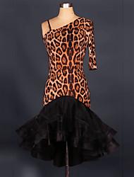 Disfraces de Cosplay Más Vestidos Festival/Celebración Traje de Halloween Negro Leopardo Vestido Halloween / Navidad / CarnavalOrganza /