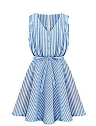 Women's Simple / Street chic Striped Lace Up Slim Pleated Bow Sheath Dress,V Neck Above Knee