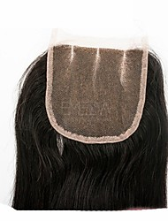 8inch-20inch Черный Прямые Человеческие волосы закрытие Умеренно-коричневый Швейцарское кружево 40-60g грамм Размер крышки