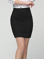Women's Solid Black OL Style Bodycon Skirts,Simple Mini