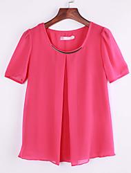Women's Round Neck Blouse , Chiffon Short Sleeve