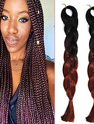 "1 Pack Black Ombre Reddish Brown Crochet 24"" Yaki Kanekalon Fiber 100g 2 Tone Jumbo Braids Synthetic Hair with Free Hook"