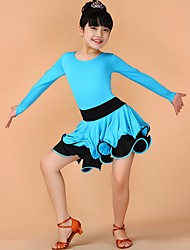 Latin Dance Dresses Children's Performance Chinlon Draped 1 Piece Black / Blue / Fuchsia