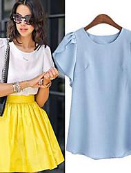Damen Solide Einfach Lässig/Alltäglich T-shirt,Rundhalsausschnitt Sommer Kurzarm Blau / Rosa / Weiß Baumwolle / Leinen / Polyester Dünn