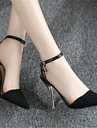 Damen-High Heels-Lässig-PU-BlockabsatzSchwarz Mandelfarben