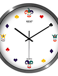 Creative Poker Face Bedroom Decoration Mute Quartz Wall Clock