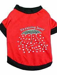 Chat / Chien T-shirt Rouge / Rouge Rose Vêtements pour Chien Printemps/Automne Floral / Botanique Mode