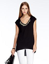 mulheres heartsoul de sair t-shirt simples verão, v pescoço sólida manga curta de poliéster preta fina