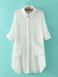 Women's Casual/Daily Sexy Summer Shirt,Solid Shirt Collar ½ Length Sleeve White Cotton / Linen Thin