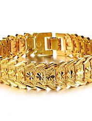 Men's 18k Gold Chain Bracelet with Dragon
