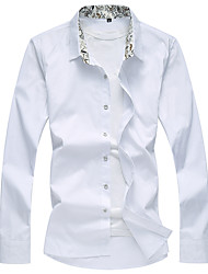 Men's Fashion Solid Plus Size Business Slim Fit Casual Long Sleeve Shirt, Cotton / Casual / Plus Sizes