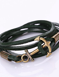 Fashion Men Bracelet Weave Anchor Leather Bracelet