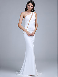 TS Couture Formal Evening Dress - Sexy Trumpet / Mermaid One Shoulder Sweep / Brush Train Jersey with Pleats