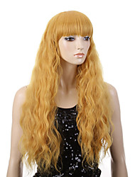 Capless Yellow Color Natural Wave High Quality Synthetic Wig